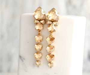 bridal jewelry, gold drop earrings, and etsy image