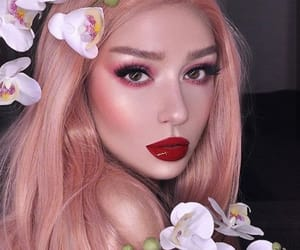 artist, flowers, and makeup image