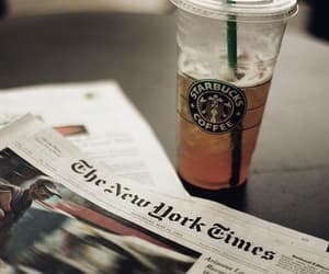 starbucks, newspaper, and coffee image