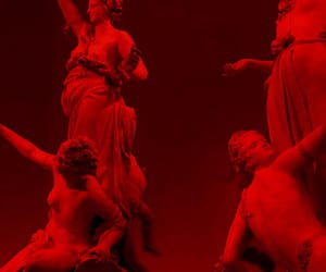 statues, red glow, and singular image