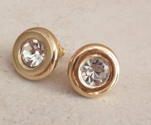 etsy, gold tone, and stud earrings image