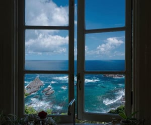 sea, travel, and window image