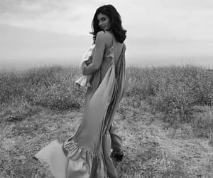 black and white, dress, and field image