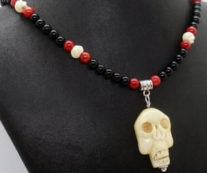 day of the dead, red black, and coral necklace image