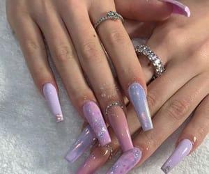 nails, long nails, and pink image