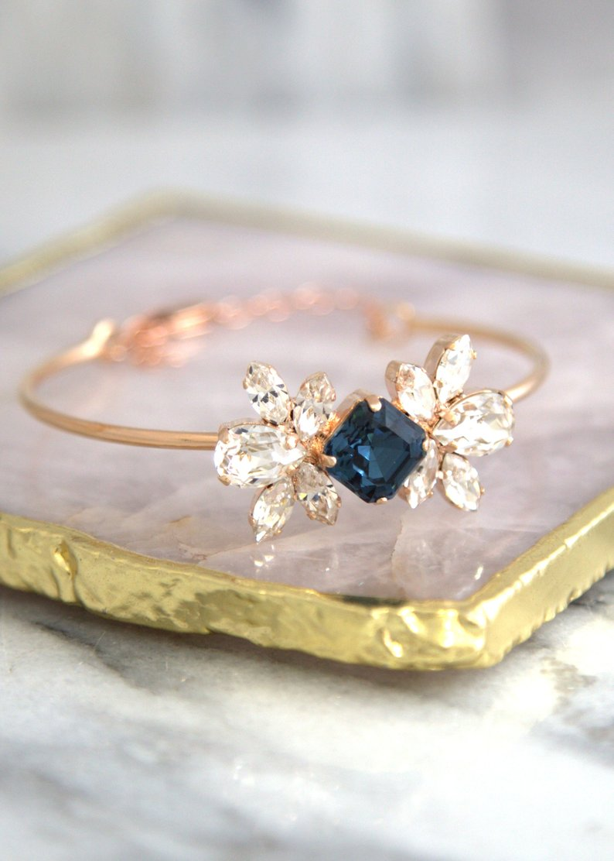 Bridal Blue Bracelet Bohemian Crystal Bracelet Swarovski | Etsy