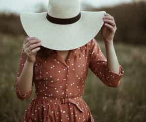 beautiful, dress, and hat image