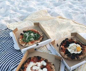 food, pizza, and beach image
