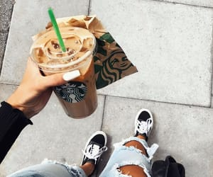 coffee, sneakers, and woman girl image