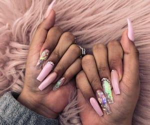 nails, pink, and acrylics image