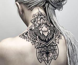 back tattoo, box braids, and braids image