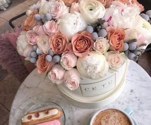 flowers, coffee, and roses image