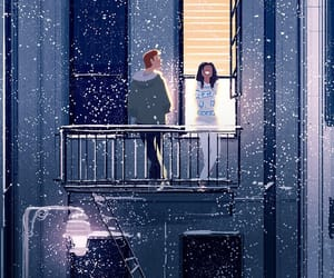 art, couple, and snow image