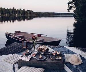 boat, food, and lake image