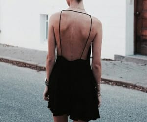 black, backless, and dress image