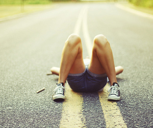 girl, road, and converse image