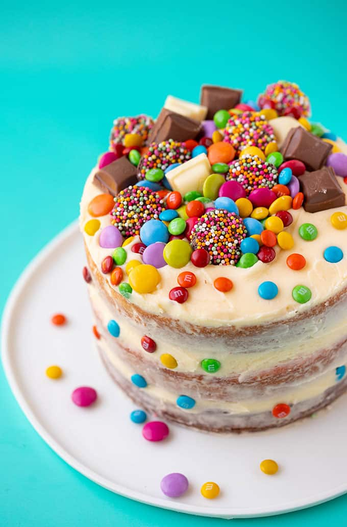 Groovy A Birthday Party Cake Covered In Colourful Candy Funny Birthday Cards Online Alyptdamsfinfo