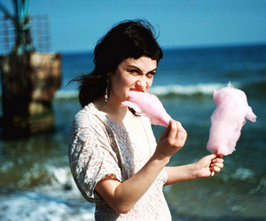 girl, cotton candy, and sea image
