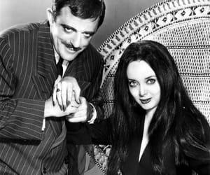 black and white, morticia, and Morticia Addams image