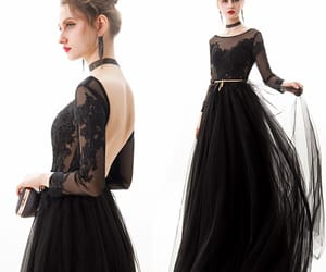 black dress, long dress, and affordable dress image