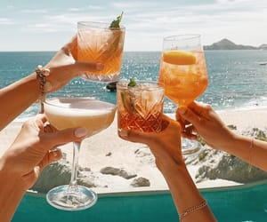 beach, drinks, and cheers image
