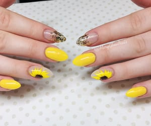 nails, sunflower, and spring image