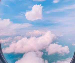 blue, clouds, and flight image
