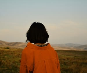 aesthetic, black hair, and landscape image
