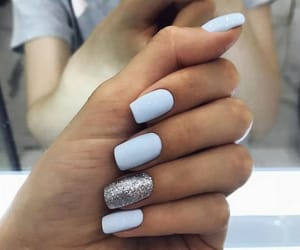 nails, blue, and hand image