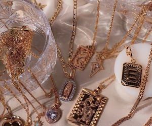 gold, jewelry, and necklace image