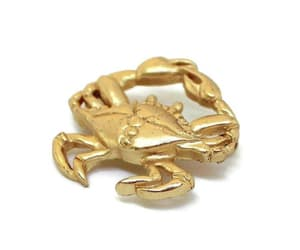etsy, matte gold, and crab brooch image