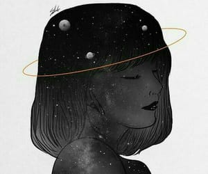 art, black and white, and galaxy image
