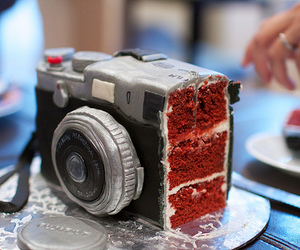 cake, camera, and food image