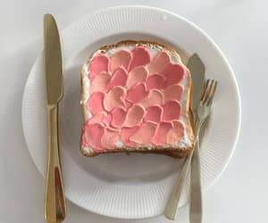 food, pink, and toast image