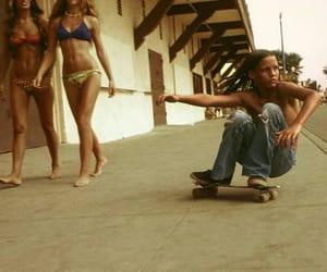 skateboard, summer, and bikini image