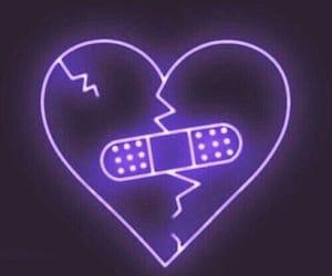 heart, neon, and purple image