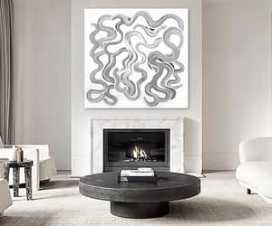 Abstract Painting, black and white, and wall decor image