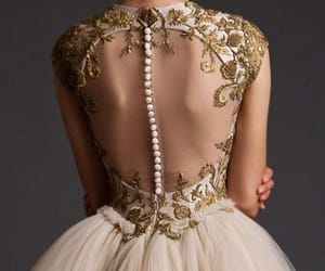 dress, gold, and wedding image