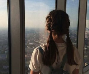 girl, hairstyle, and city image