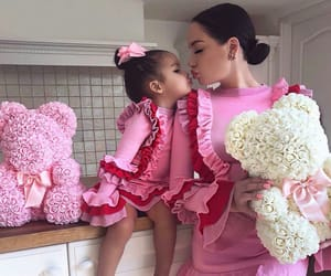 family, flowers, and kiss image