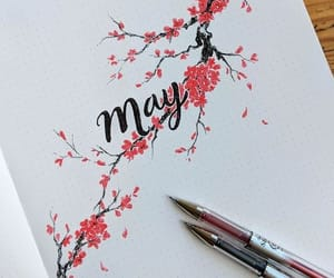 black, red, and flowers image