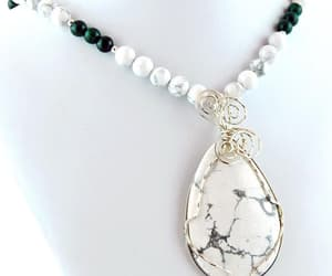 etsy, green white, and beaded statement image