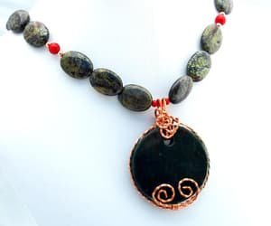 etsy, red green, and pendant necklace image