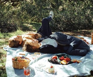 couple, fruit, and picnic image