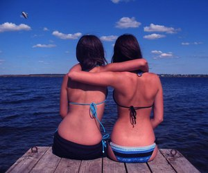best friends, friend, and lake image