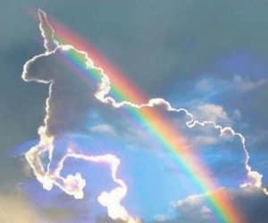 unicorn rainbow clouds, photoshopped ?, and maybe photoshopped image