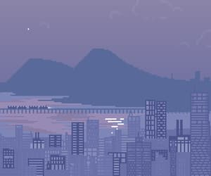 8-bit, city, and mountain image