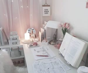 aesthetic, desk, and pink image