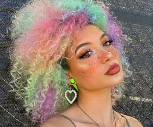arco iris, colored hair, and colorful image