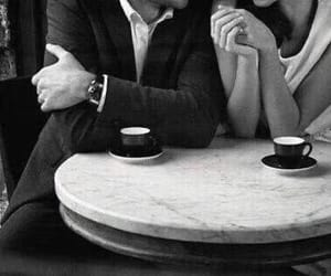 love, black and white, and coffee image
